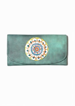 CLUTCH-WALLET/VICTORY FLOWER  (vintage blue)