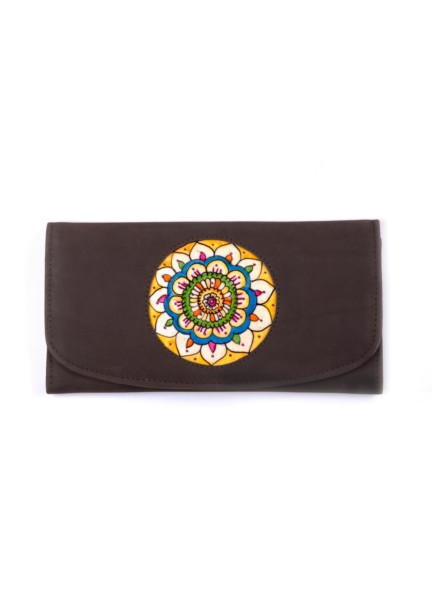 CLUTCH-WALLET/VICTORY FLOWER (Suede-Brown)