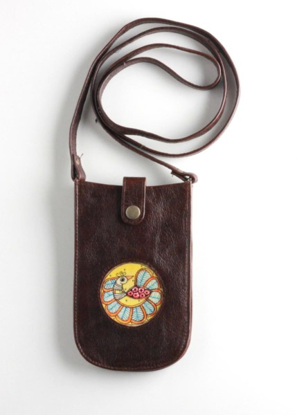 MOBILE POUCH-PEACOCK (Dark Brown)