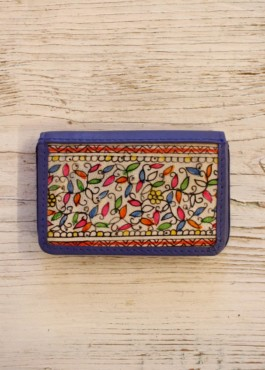 MAGNETIC CARD CASE-FOLIAGE- ROYAL BLUE