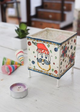 SQUARE  BABY TEALIGHT- SANTA CLAUSE- SNOW FLAKES